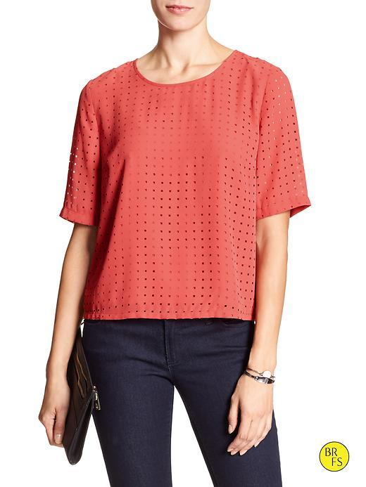 Banana Republic Factory Perforated Top Size L Petite - Spiced Coral