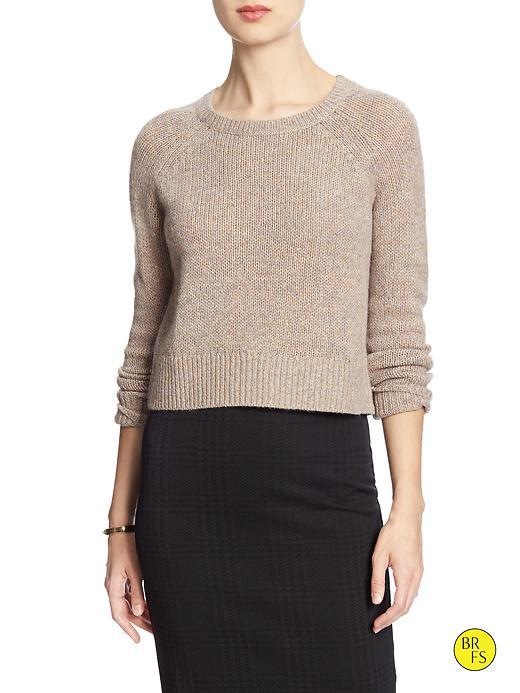 Banana Republic Womens Factory Heathered Crop Sweater Size L - Oatmeal