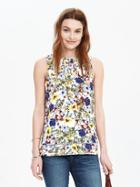 Banana Republic Womens Smocked Floral Sleeveless Top Size L - Multi