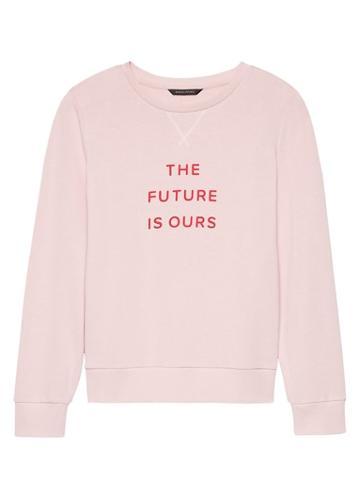 Banana Republic Womens French Terry Sweatshirt Pink Blush Size Xl