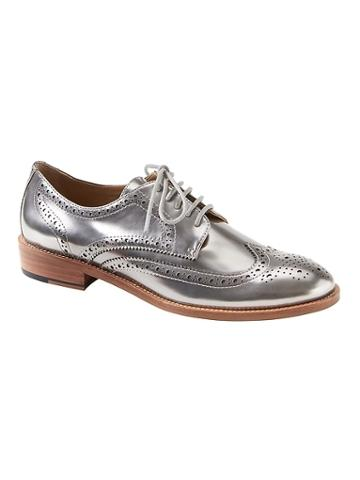 Banana Republic Womens Silver Patent Leather Brogue Oxford Silver Patent Leather Size 8