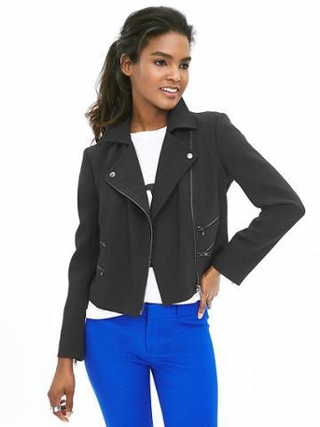 Banana Republic Womens Multi Zip Moto Jacket Size 0 - Black