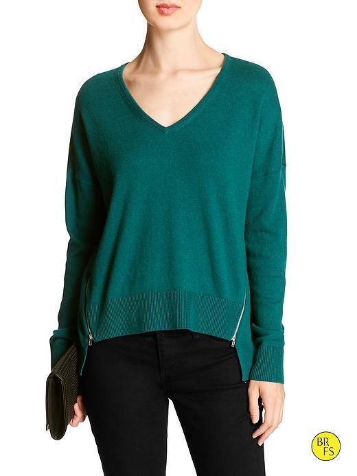 Banana Republic Womens Factory Hi Lo Zipper Seam Sweater Size S - Deep Teal