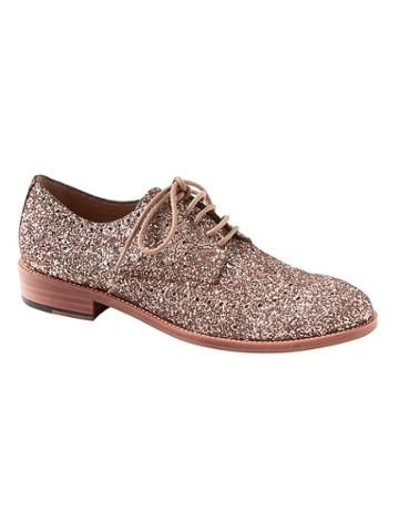 Banana Republic Womens Glitter Brogue Oxford Champagne Gold Size 5