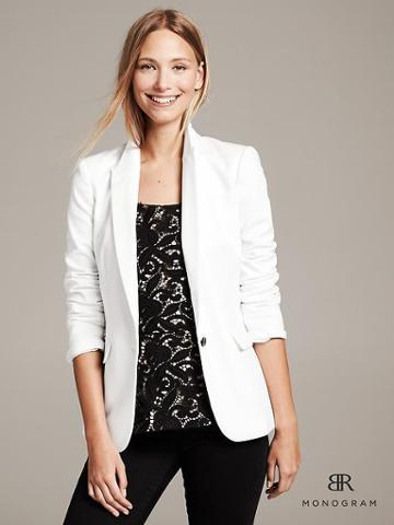 Banana Republic Monogram White Tuxedo Blazer - White