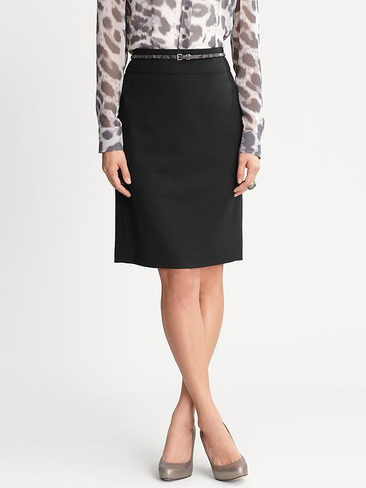 Banana Republic Black Lightweight Wool Pencil Skirt - Black