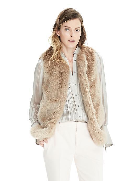 Banana Republic Womens Faux Fur Vest - Golden Beige