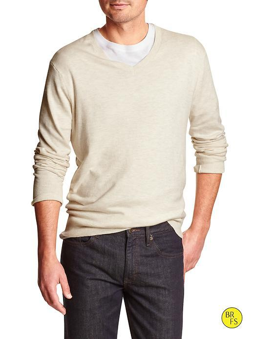 Banana Republic Mens Factory Classic V Neck Sweater Size L - Light Oatmeal Heather