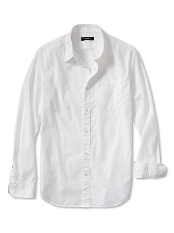 Banana Republic Tailored Slim Fit Soft Wash White Shirt - White