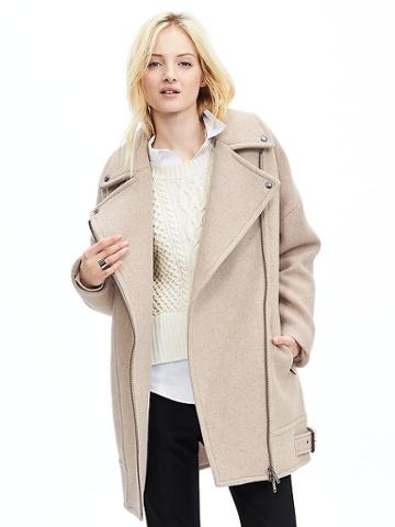 Banana Republic Womens Moto Cocoon Coat Size L Tall - Washed Stone