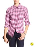 Banana Republic Factory Soft Wash Herringbone Shirt Size L - Magenta