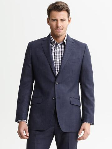Banana Republic Tailored Navy Pinstripe Wool Two Button Suit Blazer - H. Navy Pinstripe