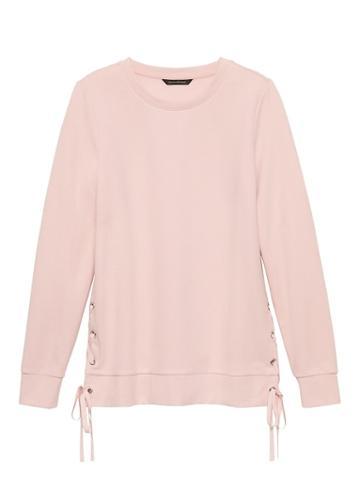 Banana Republic Womens Lace-up Fleece Sweatshirt Pink Blush Size Xs