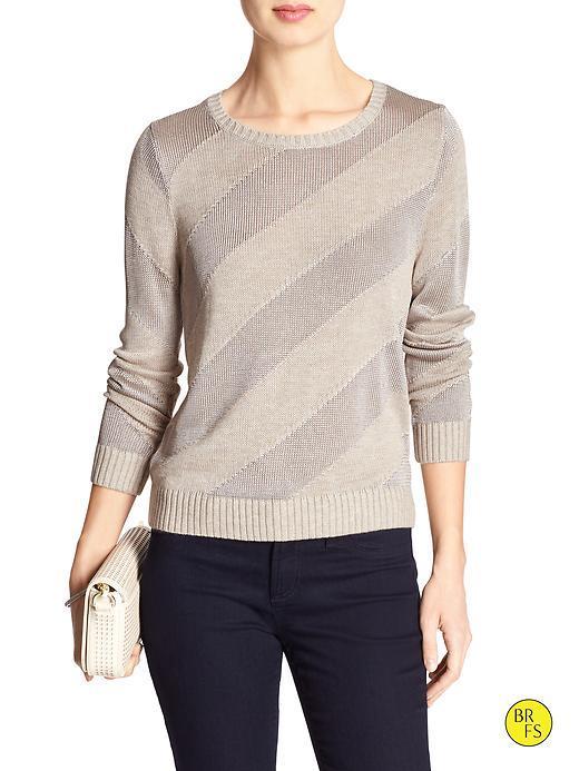 Banana Republic Factory Diagonal Stripe Sweater Size L - Oatmeal