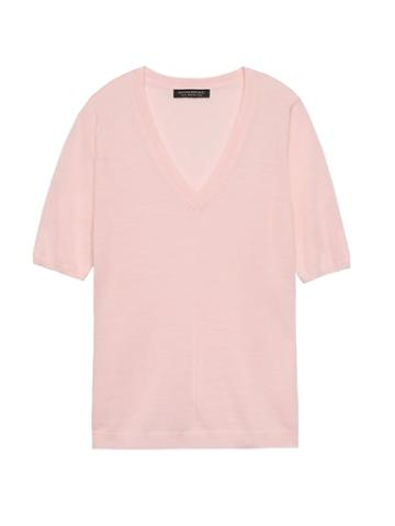 Banana Republic Womens Machine-washable Merino V-neck Sweater Blush Size M