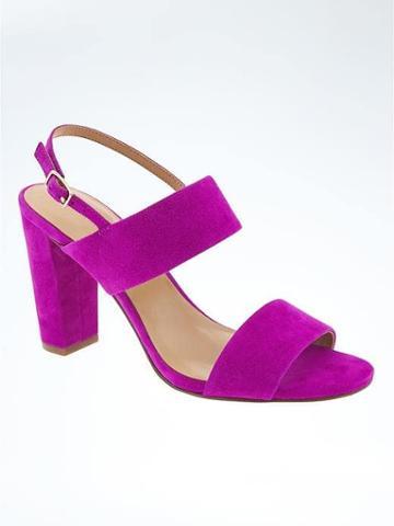 Banana Republic Double Strap Block Heel Sandal - Neon Fuschia
