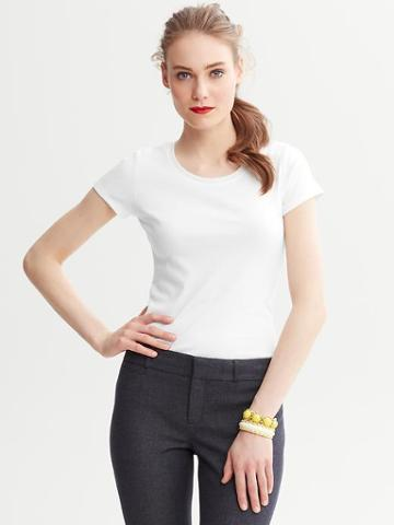 Banana Republic Timeless Crewneck Tee Shirt - White