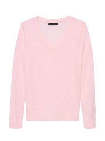Banana Republic Womens Machine-washable Merino Wool Solid V-neck Sweater Pink Blush Size Xs