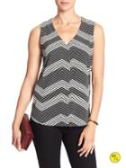 Banana Republic Womens Factory Sleeveless Cross Back Top Size L - Black And White Print