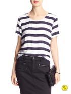 Banana Republic Factory Stripe Scoop Neck Shirt Size L - Navy Stripe