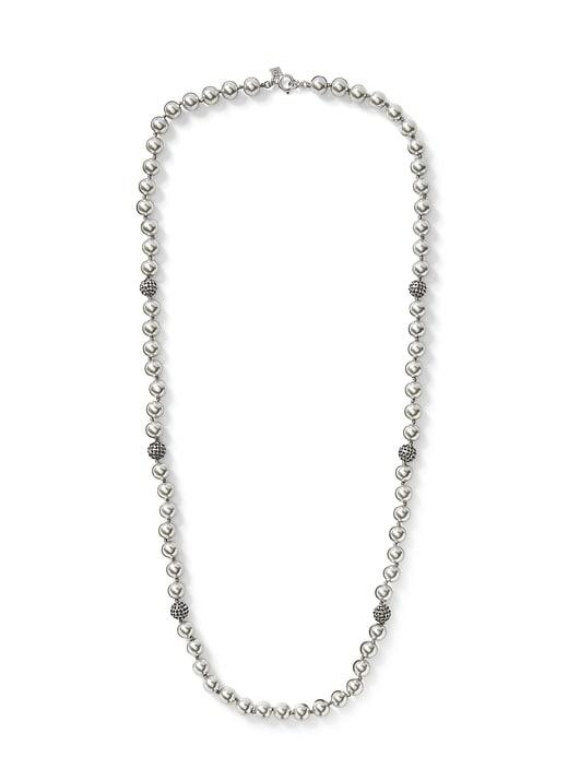 Banana Republic Womens Pearl Pave Long Necklace Gray Size One Size
