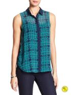 Banana Republic Factory Print Sleeveless Top Size L - Teal Print
