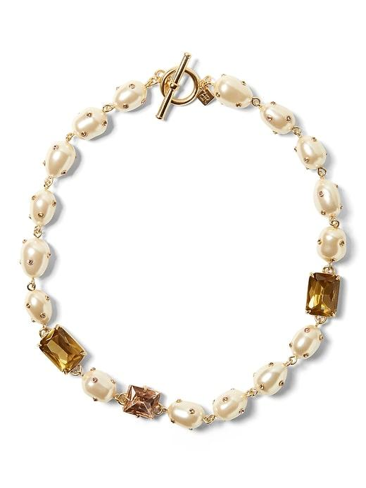 Banana Republic Womens Embellished Pearl Necklace Pearl Size One Size
