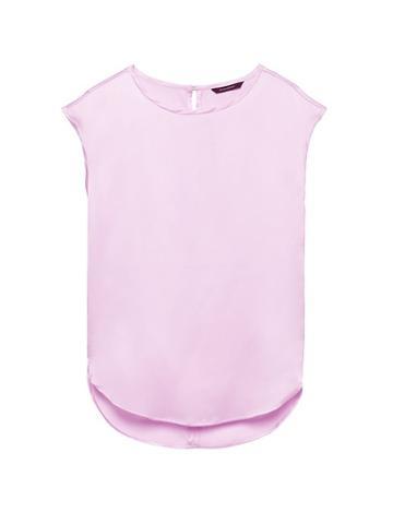 Banana Republic Womens Petite High-low Curved Hem Top Lilac Blush Size L