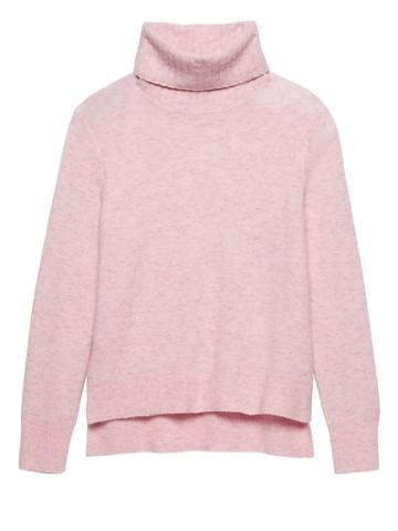 Banana Republic Womens Aire Turtleneck Sweater Pink Blush Size Xs