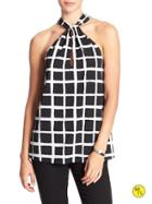 Banana Republic Factory Back Tie Halter Size L - Grid Print