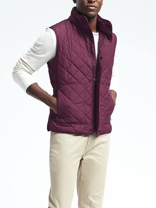 Banana Republic Mens Quilted Puffer Vest - Burgundy