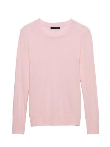 Banana Republic Womens Italian Merino-blend Crew-neck Sweater Blush Pink Size Xs