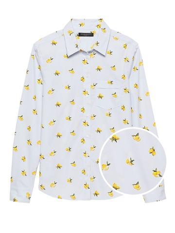 Banana Republic Petite Quinn Straight-fit Lemon Print Shirt