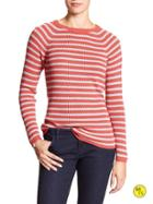Banana Republic Factory Stripe Crew Neck Sweater Size L - Spiced Coral