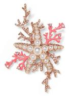 Banana Republic Womens Coral Starfish Brooch Gold Size One Size