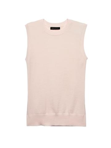 Banana Republic Womens Machine-washable Merino Wool Blend Cropped Sweater Shell Pink Blush Size Xs