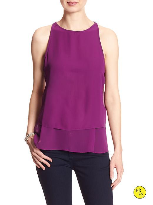 Banana Republic Factory Layered Top Size L Petite - Purple Flower