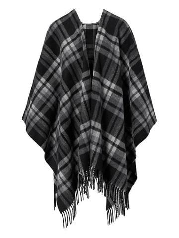 Banana Republic Plaid Poncho - Black