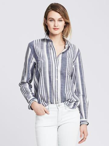Banana Republic Soft Wash Multi Stripe Boyfriend Shirt Size L Petite - White