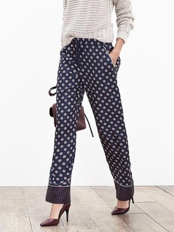 Banana Republic Womens Printed Silk Wide Leg Pant Size L - Preppy Navy