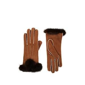 Barneys New York Women's Mink Fur-cuff Nubuck Gloves - Brown