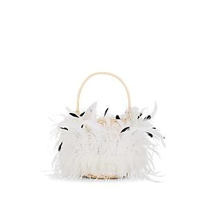 Gatti Women's Pompadour Large Feather-trimmed Wicker Bucket Bag - White