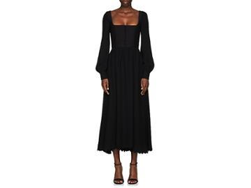 Valentino Women's Scalloped-hem Square-neck Dress