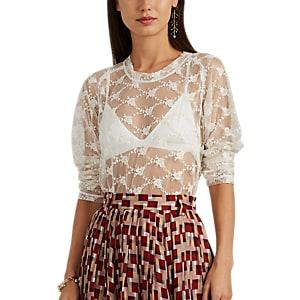Needles Women's Floral Lace Top - White