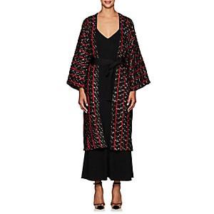 Zero + Maria Cornejo Women's Oki Jacquard-knit Fil Coup Long Coat-black, Rouge, White Pepper