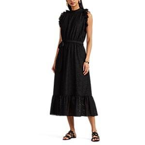 Robert Rodriguez Women's Sample Scarlett Floral-embroidered-eyelet Ruffled Dress - Black