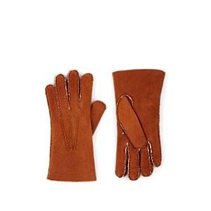 Barneys New York Men's Shearling-lined Leather Gloves - Beige, Tan