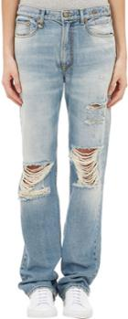 R13 Kurt Distressed Slouch Jeans-blue