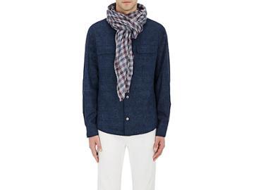 Loro Piana Men's Checked Cashmere-silk Scarf