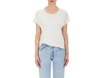 Current/elliott Women's The Rolled Crew Linen-cotton T-shirt